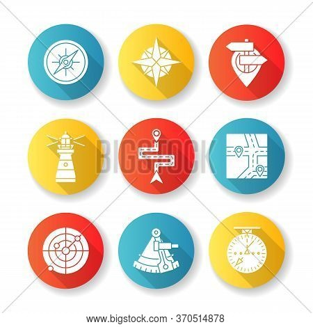 Navigation Flat Design Long Shadow Glyph Icons Set. Geographical Location Positioning, Cartography.
