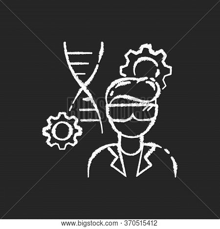 Biomedical Engineer Chalk White Icon On Black Background. Biotechnology Field Specialist. Profession