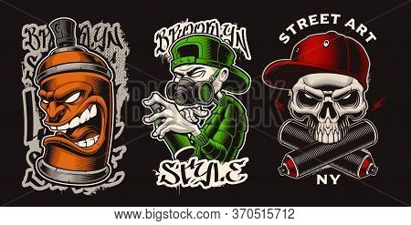 Set Of Vector Illustrations With Graffiti Characters.