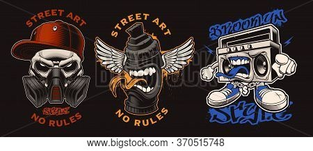 Set Of Vector Graffiti Characters On The Dark Background.