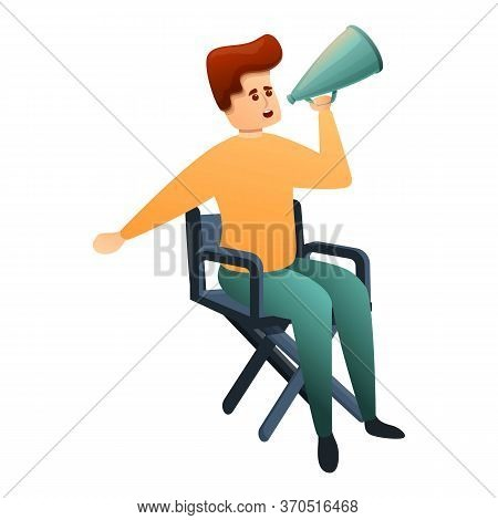 Stage Director Working Icon. Cartoon Of Stage Director Working Vector Icon For Web Design Isolated O