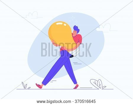 Young Man Carrying Heavy Yellow Bulb. Flat Modern Vector Illustration Of Burden Of Creative Solution