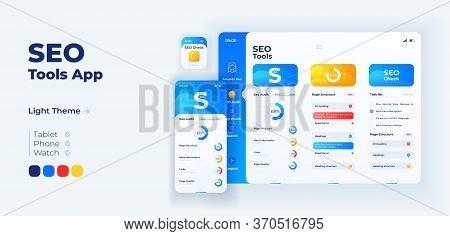 Seo Instruments App Screen Vector Adaptive Design Template. Search Engine Optimization Application D