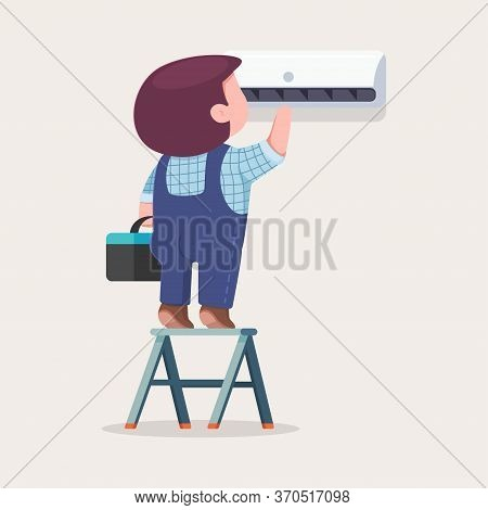 Air Conditioner Repair And Installation. Vector Cartoon Flat Illustration Of Cute Man On A Ladder Ma