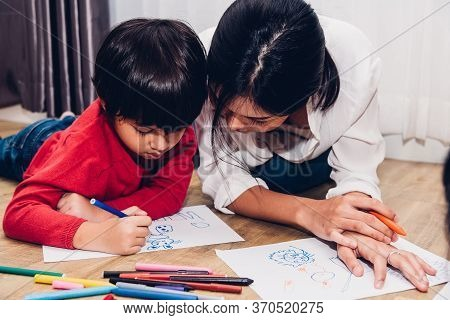 Family Happy Children Kid Boy Kindergarten Paint Drawing On Peper Teacher Education At Interior Play
