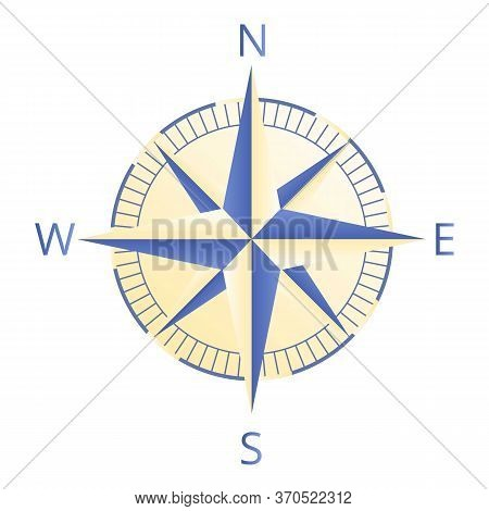 Cartographer Compass Icon. Cartoon Of Cartographer Compass Vector Icon For Web Design Isolated On Wh
