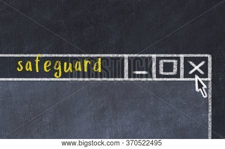 Closing Browser Window With Caption Safeguard. Chalk Drawing. Concept Of Dealing With Trouble