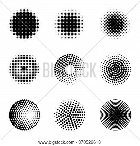 Radial Halftone. Different Gradient Circles, Halftone Dots Graphic Digital Technology Texture, Stipp