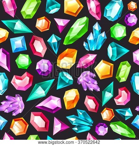 Gem Seamless Pattern. Gemstones Amethyst, Topaz And Quartz. Diamonds And Ruby, Sapphire, Crystal And