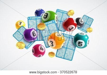 Lottery Banner. Realistic Lottery Tickets And Drawing Balls With Numbers, Lucky Instant Win, Lotto G