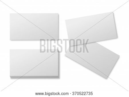Blank Business Card. Empty White Paper Cards, Pile Of Cardboard Card For Brand Presentation Realisti