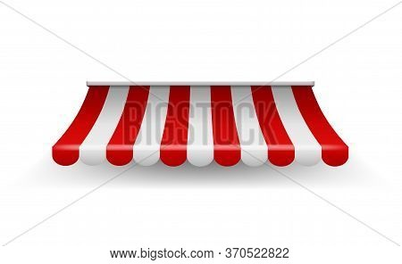 Shop Awning. Shopping Striped Tent For Market Grocery Or Restaurant, Vector Realistic Red Store Suns
