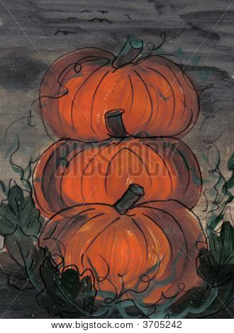 Painting Stack Of Pumpkins