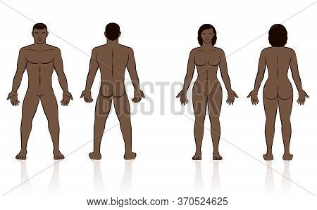 Human Body - Naked Black Man And Woman, Front And Back View.