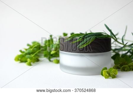 Moisturizer Facial Or Eye Cream In Frosted Glass Jar With Wooden Cup And Meadow Herbs And Leaves On