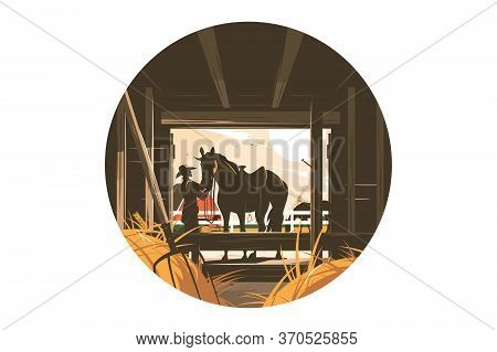 Farm Stable With Horse Vector Illustration. Cowboy