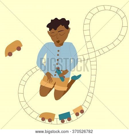 African American Boy And Toy Train. A Boy Is Playing With A Train. Vector Illustration Eps 10 Isolat