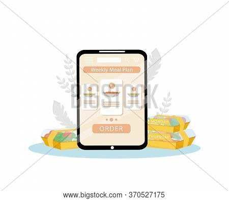 Weekly Meal Plan Order Mobile Application Flat Concept Vector Illustration. Healthy Nutrition Planni