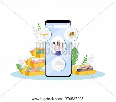 Restaurant Food Online Order And Delivery Flat Concept Vector Illustration. Cafe Chef, Chief-cooker