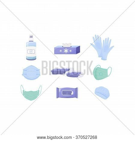 Personal Hygiene And Disinfection Products Flat Color Vector Objects Set. Respirators And Gloves, Di