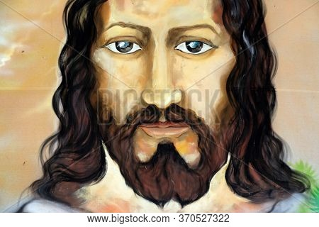 OLD GOA, INDIA - FEBRUARY 18, 2020: Jesus Christ, painting in the Basilica Bom Jesus, Old Goa, Velha Goa, Goa, India