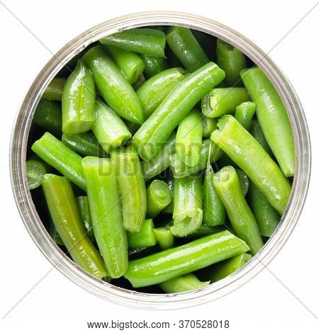 Flat Lay View At Opened Tin Can With Green Beans Isolated On White Background