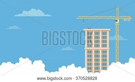 Detailed Flat Vector Illustration Of A Tower Crane And A Tall Building On A Blue Background With Clo