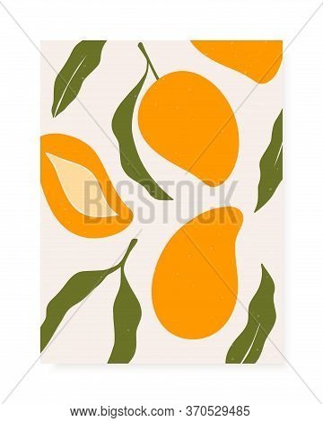 Stylish Vector Cover Design With Mango Fruits. Composition Of Trendy Hand Drawn Mangos And Leaves Fo