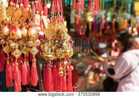 Hong Kong, China - March 19, 2018: Golden Calabash Plastic Hang For Believed To Bring Luck At Wong T