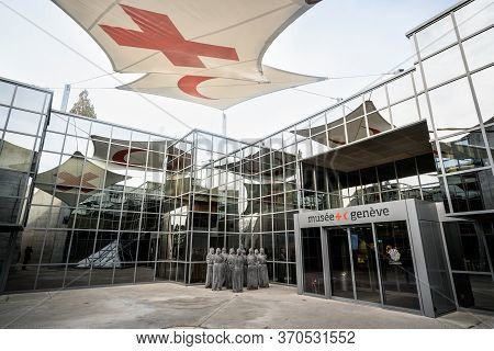 Geneva Switzerland , 3 January 2020 : Entrance Of International Museum Of The Red Cross And Red Cres