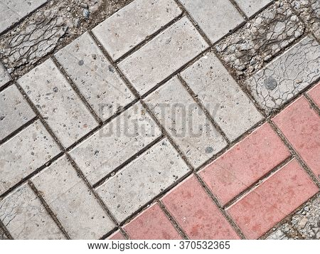 Background Image Of Pavement Cover. Detailed Texture Of Paving Slabs. Text Space. Wallpaper. Footpat