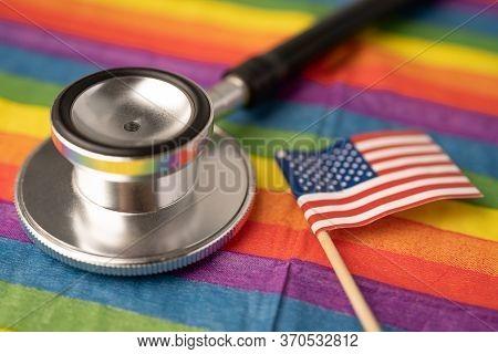 Usa America Flag On Rainbow Background Symbol Of Lgbt Gay Pride Month  Social Movement Rainbow Flag