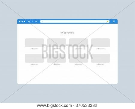 Web Browser Window. Bookmarks Tabs. Favorite Websites Icons. Isolated Web Page Mockup. Computer Brow