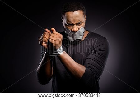 Photo Of Furious Mad Afro American Guy Restrained Adhesive Tape Hand Lips Close Cover Suffer No Talk