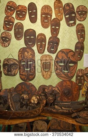 Palawan, Ph - March 9 - Coron Souvenir And Gift Shop Wood Mask Display On March 9, 2012 In Coron, Pa