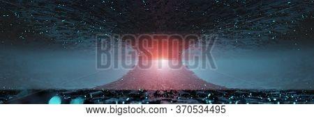 Sci Fi Futuristic Fantasy Strange Alien Structure, 3d Rendering