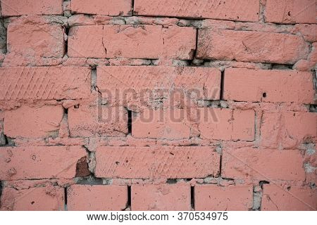Background Image Of A Painted Brick Wall. Sloppy Brickwork. Detail Brickwork Texture. Texture For Th