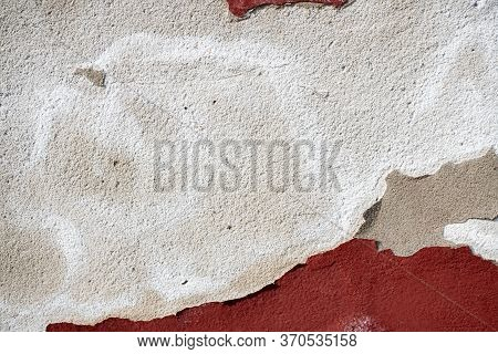 Background Image Of Painted Concrete Wall. Cracked Paint Falls Off. Wallpaper. Text Space. Texture F