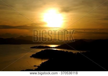 Sunset View From Mount Tapyas Overlooking Mountains And Sea In Coron, Palawan, Philippines
