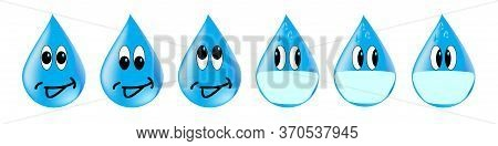 Icons Of Water Droplets With Different Emotions, In A Mask Scared Looking In Different Directions. C