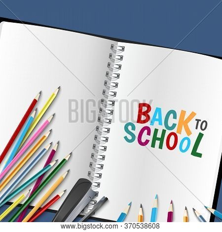 Back To School Poster With Diary And Colored Crayons Vector Eps 10