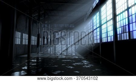An Empty And Abandoned Factory Interior In The Nighttime With Bright Late Evening Moon Rays Streamin