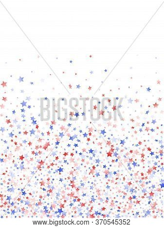 American Presidents Day Stars Background. Confetti In Us Flag Colors For Independence Day.  Gradient