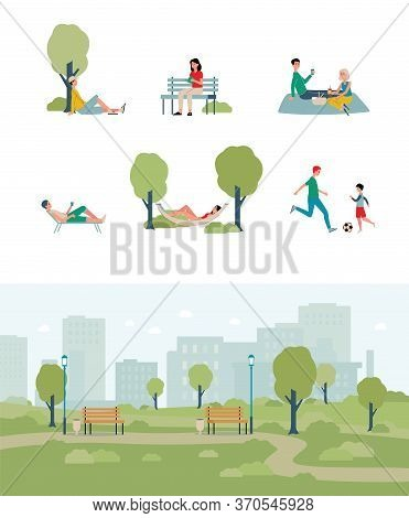 City Park Summer Weekend Scenery Set, Flat Vector Illustration Isolated.
