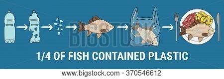 Infographic Of Fish With Microplastics On The Plate