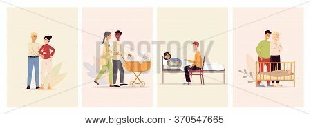 Happy Maternity Set With Parents Characters Flat Vector Illustration Isolated.