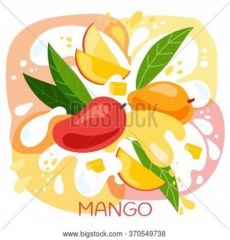 Vector Illustration Of An Organic Mango Milkshake Or Fruit Drink. Ripe Mango Fruits With Splash Of M