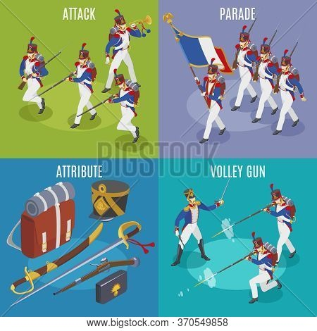 Napoleon's Grenadiers 2x2 Illustration Isometric Icons On Isolated Background