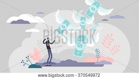 Loosing Money Vector Illustration. Financial Loss Flat Tiny Persons Concept. Economical Crisis Effec