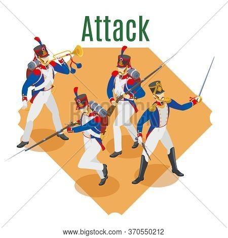 Napoleon's Grenadiers Attack Illustration Isometric Icons On Isolated Background